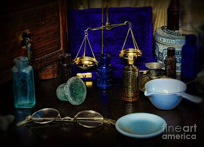 Medicine Bottles Photograph - Pharmacist - Scale And Measure by Paul Ward