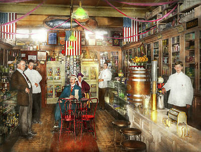 Pharmacy - Collins Pharmacy 1915 Art Print by Mike Savad