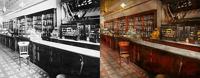 Photograph - Pharmacy - W.b. Danforth Drugs 1895 - Side By Side by Mike Savad