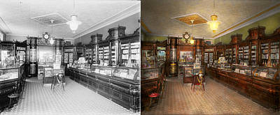 Photograph - Pharmacy - Weller's Pharmacy 1915 Side By Side by Mike Savad