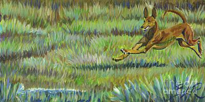 Pharaoh Hound Painting - Pharoah Hound Coursing by Brandi Reyna