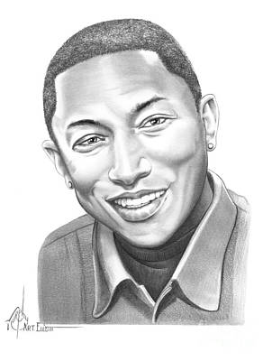 Famous People Drawing - Pharrell Williams by Murphy Elliott