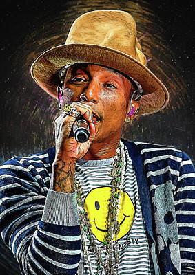 Jay Z Digital Art - Pharrell Williams by Semih Yurdabak