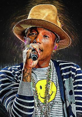 Ice-t Digital Art - Pharrell Williams by Semih Yurdabak