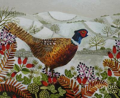 Pheasant Painting - Pheasant And Snowy Hillside by Vanessa Bowman