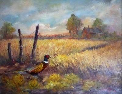 Lynn Burton Wall Art - Painting - Pheasant In The Grass by Lynn Burton