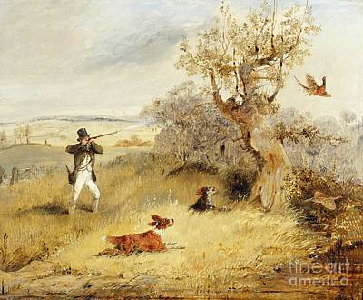 Hill Country Painting - Pheasant Shooting by Henry Thomas Alken