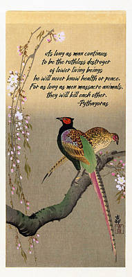 Digital Art - Pheasants And Cherry Blossoms By Koson by Ruth Moratz