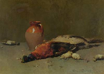 Larks Painting - Pheasants And Larks by Emil Carlsen