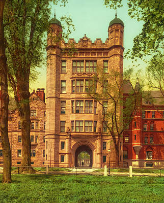 Photograph - Phelps Hall And Gateway - Yale College 1901 by Mountain Dreams