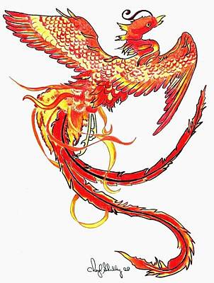 Pheonix Drawing - Phenix by Cheryl Shibley