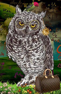 Owl Mixed Media - Phenomanam by Marvin Blaine