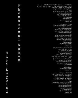 Maya Digital Art - Phenomenal Woman By Maya Angelou - Feminist Poetry by Georgia Fowler