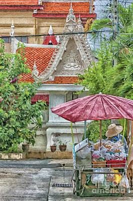Local Food Painting - Phetchaburi Street Vendor Painting by Antony McAulay