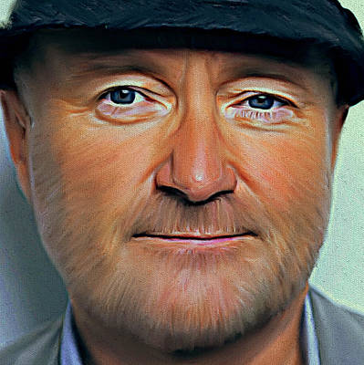 Concert Digital Art - Phil Collins Portrait Genesis 11 by Yury Malkov