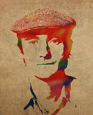 Singer Mixed Media - Phil Collins Watercolor Portrait by Design Turnpike