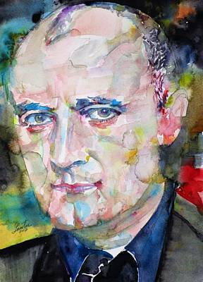 Painting - Phil Collins - Watercolor Portrait by Fabrizio Cassetta