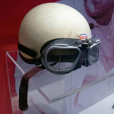 Photograph - Phil Hill Helmet And Racing Goggles Right Museo Ferrari by Paul Fearn