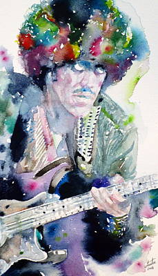 Phil Lynott - Watercolor Portrait.2 Original by Fabrizio Cassetta
