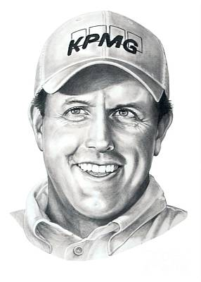 Phils Drawing - Phil Michelson  by Murphy Elliott