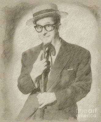 Classic Portrait Drawing - Phil Silvers, Actor, Comedian by Frank Falcon