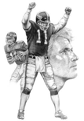 Phils Drawing - Phil Simms by Harold Shull
