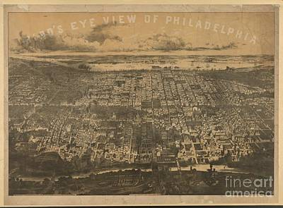 Philadelphia Drawing - Philadelphia 1868 by Baltzgar