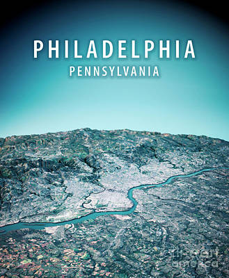 Philadelphia 3d Render Satellite View Topographic Map Vertical Art Print by Frank Ramspott