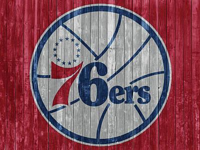 Mixed Media - Philadelphia 76ers Barn Door by Dan Sproul