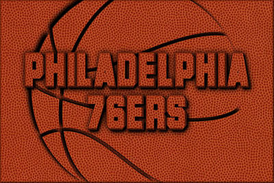 Philadelphia 76ers Leather Art Art Print by Joe Hamilton