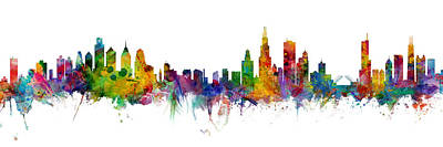 Digital Art - Philadelphia And Chicago Skylines Mashup by Michael Tompsett