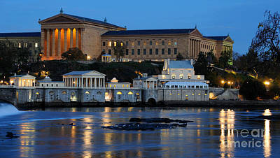 Philadelphia Art Museum And Fairmount Water Works Print by Gary Whitton