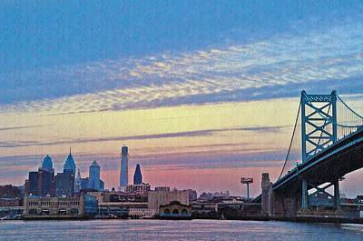 Ben Franklin Bridge Photograph - Philadelphia At Dawn by Bill Cannon