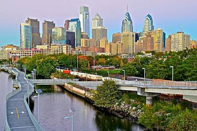 Philadelphia Skyline Photograph - Philadelphia At Dusk by Frozen in Time Fine Art Photography
