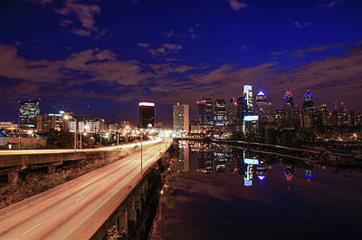 Philadelphia At Night Cityscape From South Street Art Print