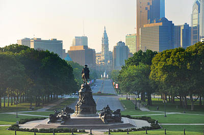 City Hall Photograph - Philadelphia Benjamin Franklin Parkway by Bill Cannon