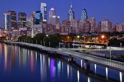 Philadelphia Skyline Photograph - Philadelphia Blue Hour by Frozen in Time Fine Art Photography