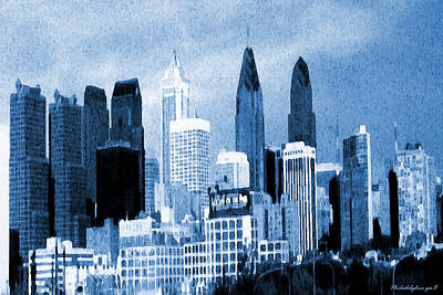Philadelphia Skyline Painting - Philadelphia Blue - Watercolor by Art America Online Gallery