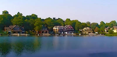 Boathouse Row Digital Art - Philadelphia Boat House Row by Bill Cannon