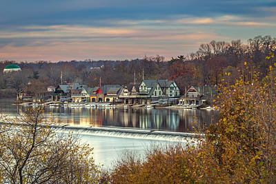 Philadelphia Boathouse Row In Fall Art Print by Jason Gambone