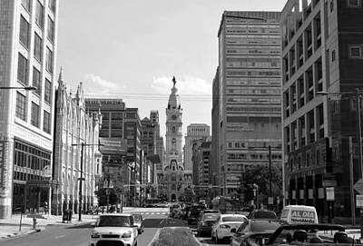 Photograph - Philadelphia City Hall Distant Street View Black And White by Matt Harang