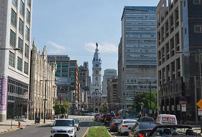 Photograph - Philadelphia City Hall Distant Street View by Matt Harang