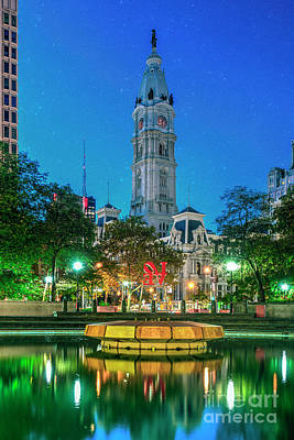 Photograph - Philadelphia City Hall Lit At Night Beautiful by David Zanzinger