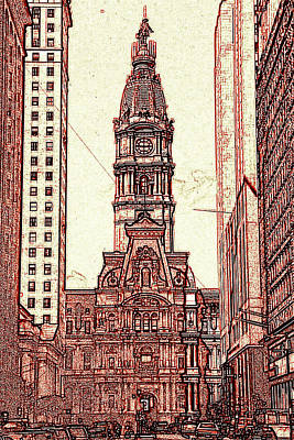 Phillies Art Drawing - Philadelphia City Hall - Pencil by Art America Gallery Peter Potter