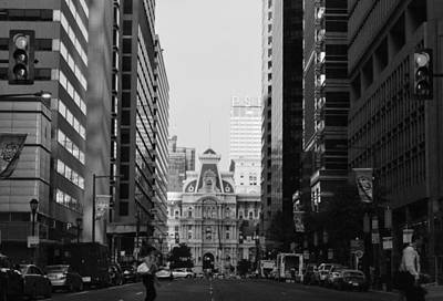 Photograph - Philadelphia City Hall Street Level View - Black And White by Matt Harang