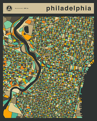 Philadelphia City Map Art Print by Jazzberry Blue