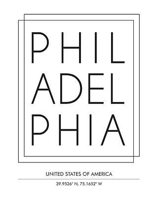 Philadelphia City Print With Coordinates Art Print