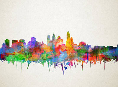 Painting - Philadelphia City Skyline 4 by Bekim Art