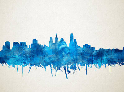 Painting - Philadelphia City Skyline Blue by Bekim Art