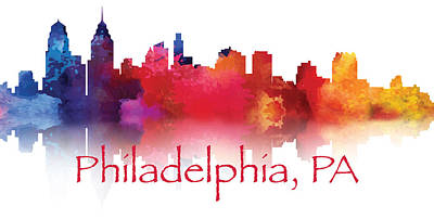 Digital Art - Philadelphia City Skyline by Loretta Luglio